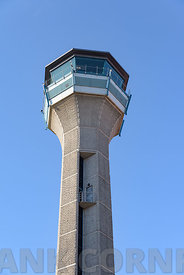 The air traffic control tower at Luton airport in England.