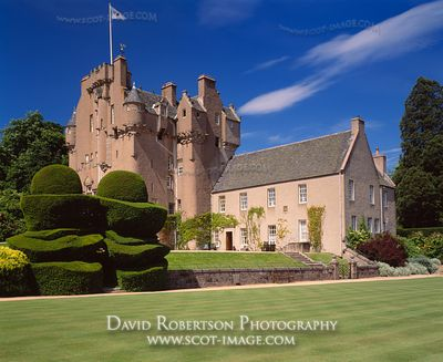Image - Crathes Castle, Aberdeenshire, Scotland, croquet lawn and topiary