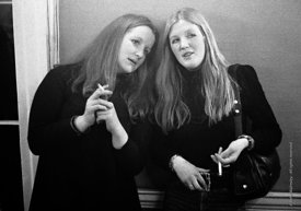 #77257  Angela Merryweather(?) on the left,  In the bar, Architectural Association School of Architecture, London  1975.
