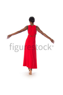 A woman in a red dress – shot from eye level.