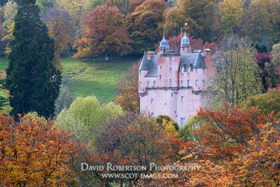 Prints & Stock Image - Craigievar Castle, surrounded by trees in autumn colours, Aberdeenshire, Scotland.  Property of the Na...