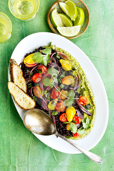 Roasted Poblano Black Rice with Roasted Cherry Tomatoes and Cilantro Pesto