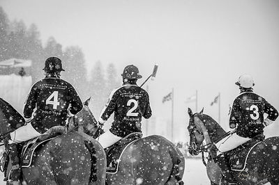 Players at the Polo on Snow in St. Moritz, Switzerland.