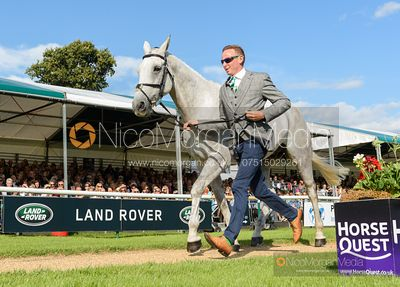 Michael Owen and JIMS PAL at the trot up, Land Rover Burghley Horse Trials 2019