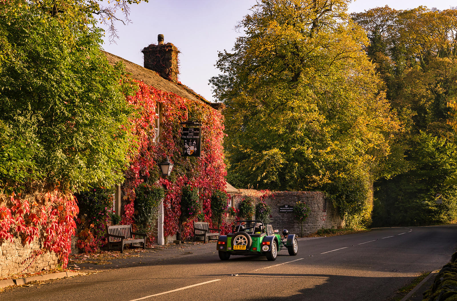 Sports car and old English pub | Peak District Photography