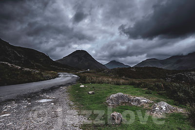 Dark clouds above Wasdale valley in Lake District, UK.