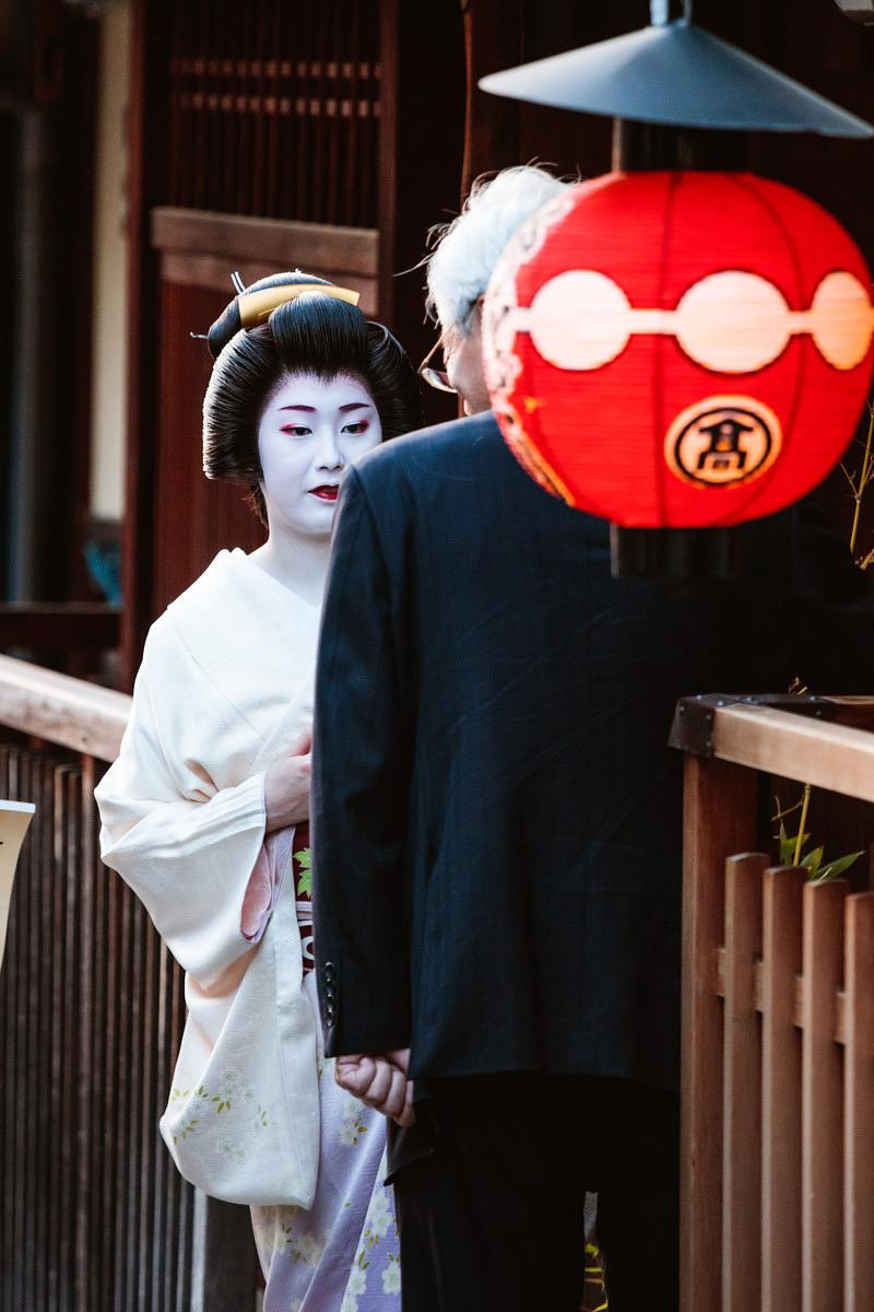 Geisha in the streets of Gyon, Kyoto, Japan