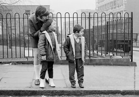 #77320,  Kids learning road safety and how to cross a road, Vittoria Primary School, Islington, London.  1970.