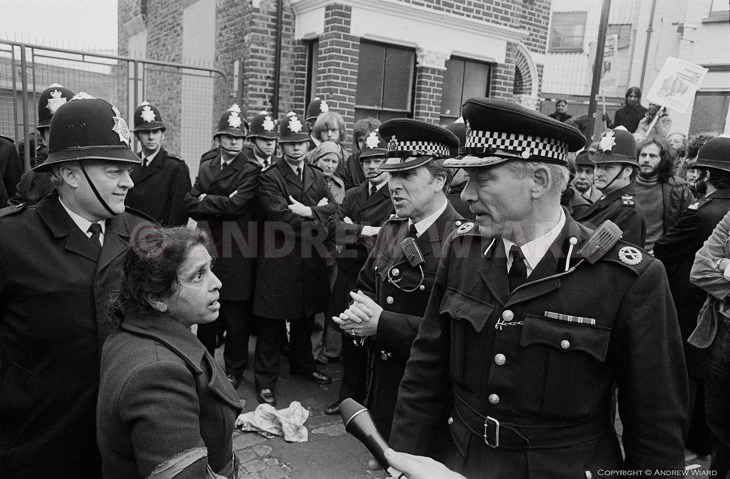 Mrs.Desai, leader of the Grunwick strike by mainly asian women over low pay and recognition rights, here on the first day of ...