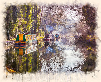 Canal with trees and pathway, Kintbury, UK