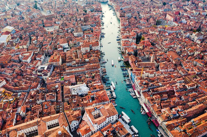 Aerial of Grand Canal at sunset, Venice, Italy