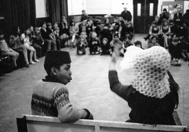 #74658,  Anna Scher Children's Theatre, Bentham Court Hall, Islington, North London 1972.  Kids would come after school and b...