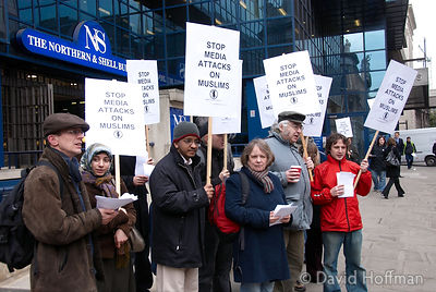"Media Workers Against The War demonstration against ""a series of highly inflammatory splashes"" outside the Daily Express offices"