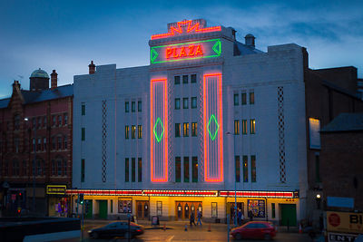 Plaza Theatre in Stockport illuminated at Night