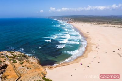 Aerial view of Bordeira beach, Algarve, Portugal
