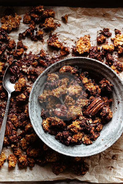 Pumpkin granola with pecans and chocolate straight out of the oven