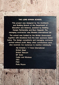 #4631,  Signs listing the main donations which nabled the building of The Lord Byron School, Leninakan (now Gyumri), Armenia....