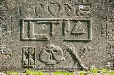 Image - Symbols on gravestone, Aberlemno church, Angus, Scotland