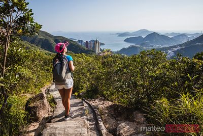 Asian female hiker in Hong Kong, China