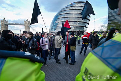 Anarchist protests outside City Hall as result of London Mayoral election is awaited. 2 May 2008.