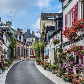 Beautiful flowered traditional street Saint-Valery-sur-Somme