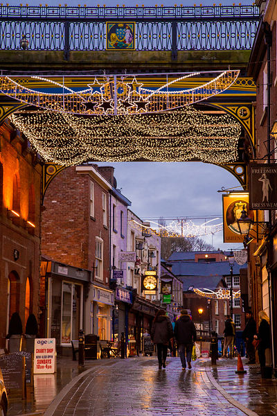 Pretty Street at Christmas in Stockport, Cheshire