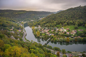 View of the river Adige from the Citadel of Besancon in Bourgogne Franche-Comte region in France.