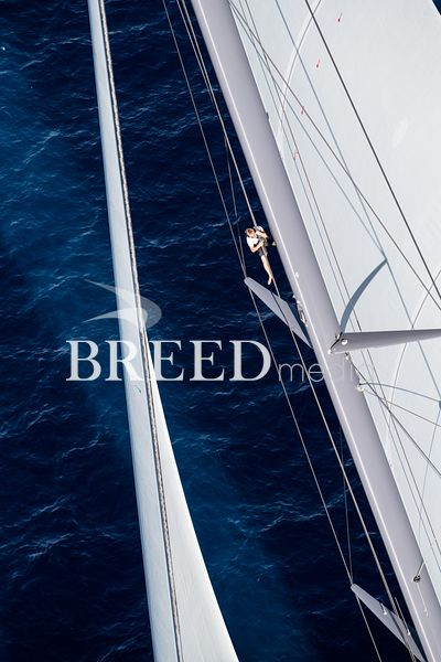Aerial photo of sailing superyacht Ngoni