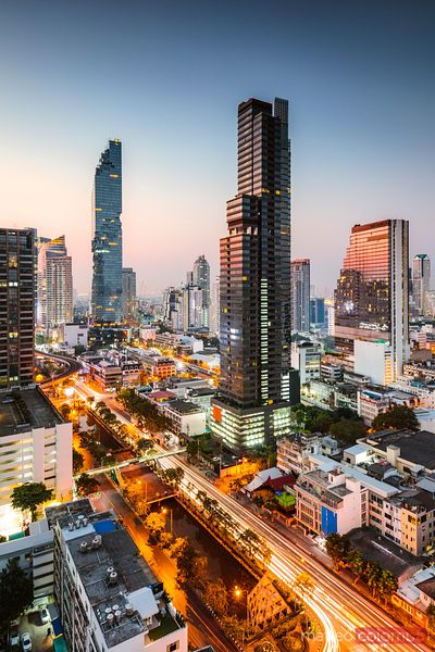 Bangkok financial district at dawn, Thailand
