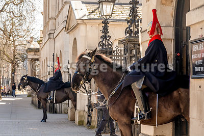 The Mounted Guardsmen at Horseguards Parade and empty streets