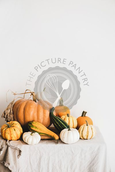Colorful pumpkins of different shapes and size, vertical composition