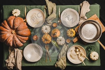 Autumn seasonal table setting for family dinner or friends gathering