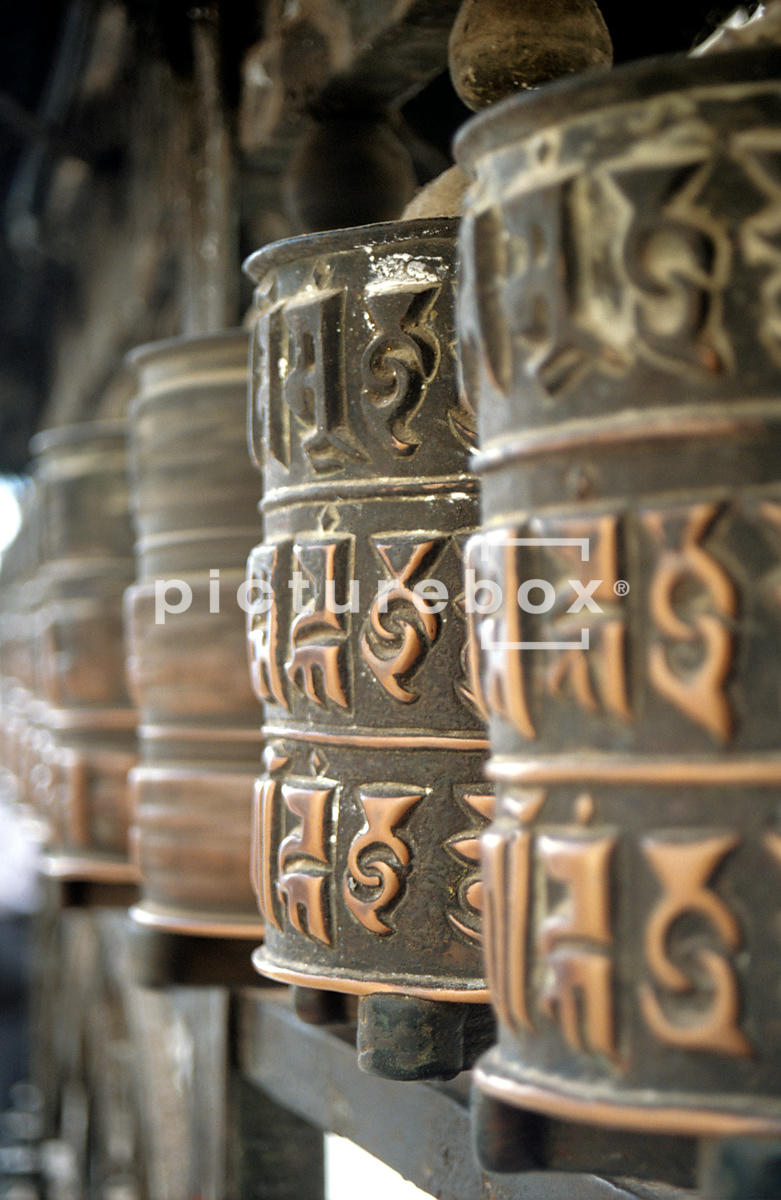 Buddhist Prayer Wheels.