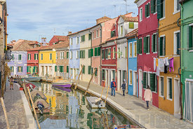 BURANO, ITALY - NOVEMBER 25, 2017: Residental area with beautiful coloured houses in Burano, Venice, Italy.