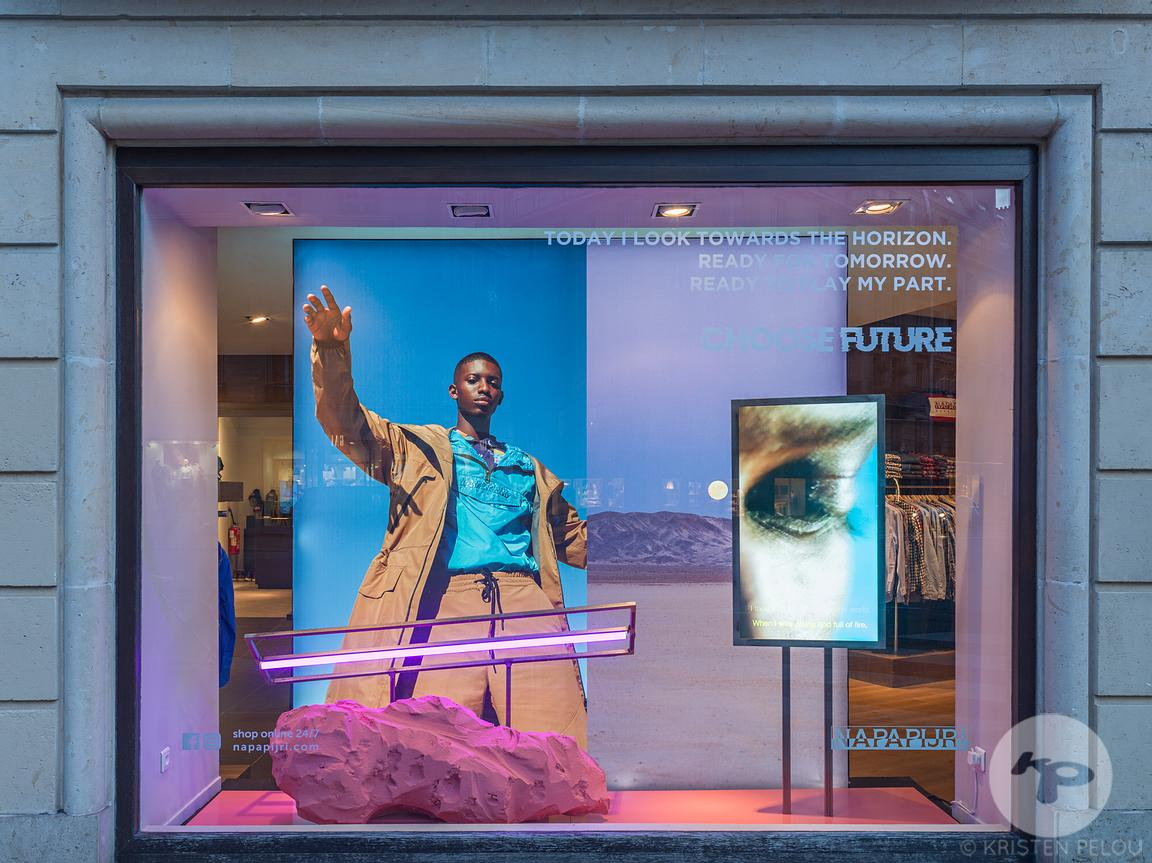 Retail architecture photographer - Napapijri windows and instore installations by XAG Studio, Paris, France. Photo ©Kristen P...