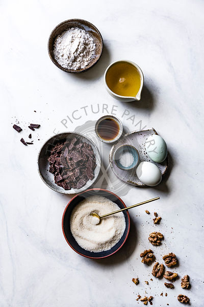 Ingredients for chocolate walnut brownies.