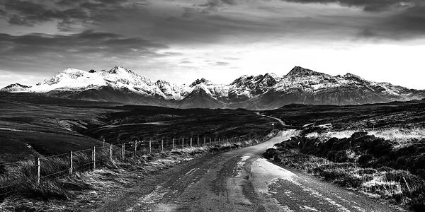 Road to teh Cuillin Hills at twilight BW