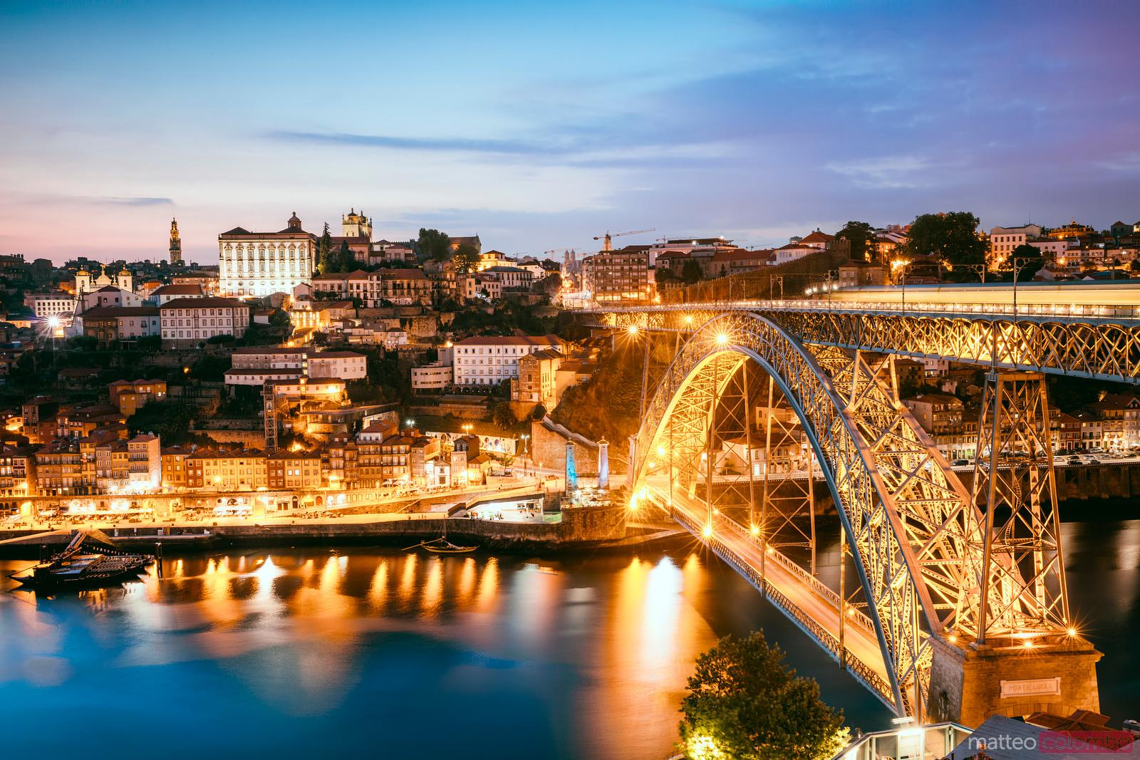 Luis I bridge illuminated at night, Porto, Portugal