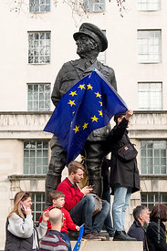 #124624,  Statue of Viscount Allanbrooke, Whitehall, London.  Anti-Brexit march to Parliament Square, London, 23rd March 2019...
