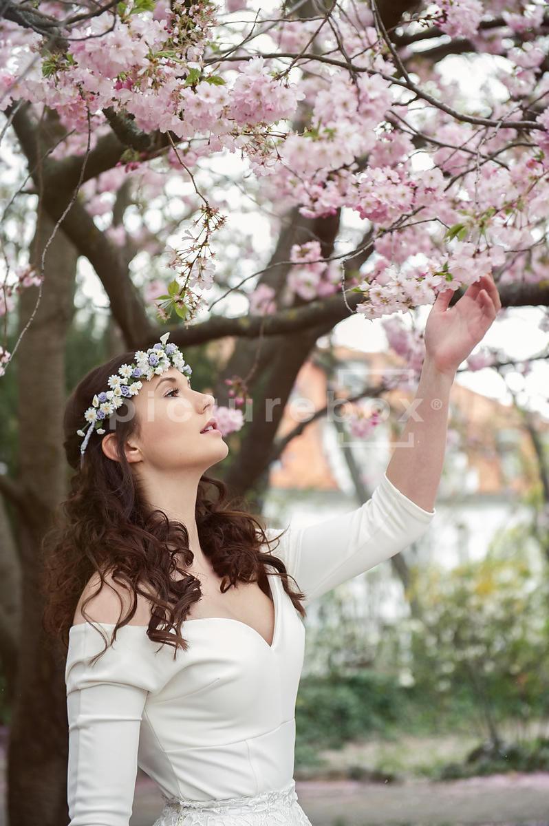 An atmospheric image af a woman in a white dress, reaching for apprle/cherry blossom.