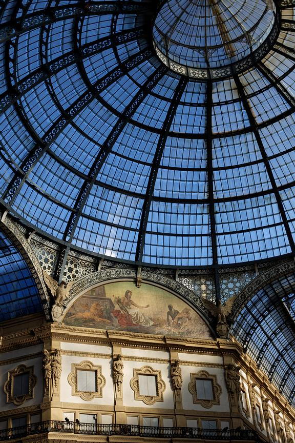 The ceiling of Galleria Vittorio Emanuele II, Italy's oldest shopping mall in Milan is lovely in the late afternoon light. In...