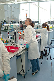 The Super Lab in the Science Centre, London Metropolitan University, where 280 students can each work independently