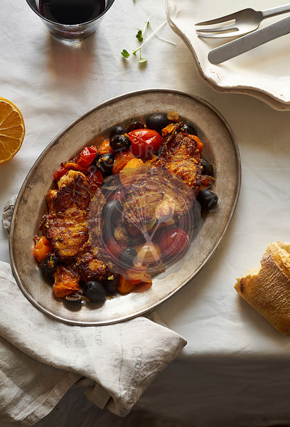 Roasted white fish with cherry tomatoes,