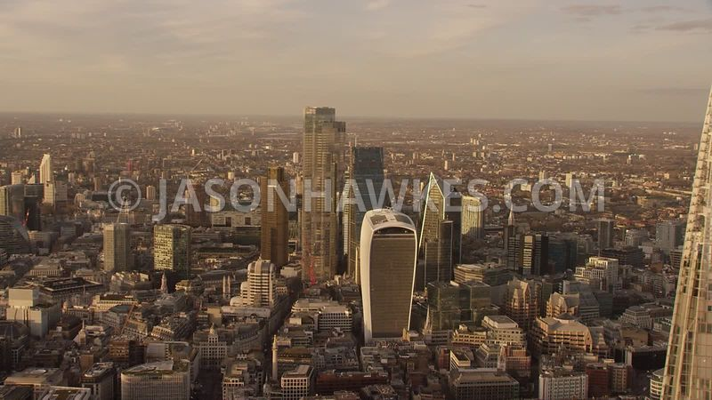 Aerial footage of the Shard,  Square Mile, City of London, London.