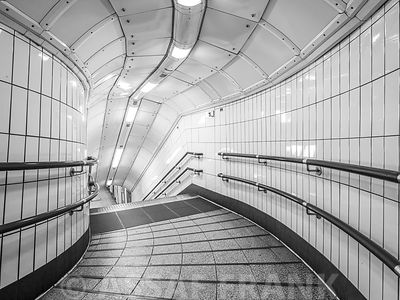 Pedestrian stairway at subway station, London
