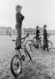 "#75841  Balancing on his ""Grifter"" bike to get a better view, Education Centre, Festival & Gala Day, Wester Hailes, Scotland,..."