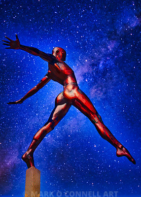 abstract, airbrush, art, bronze, painting, stars, statue, stepping out