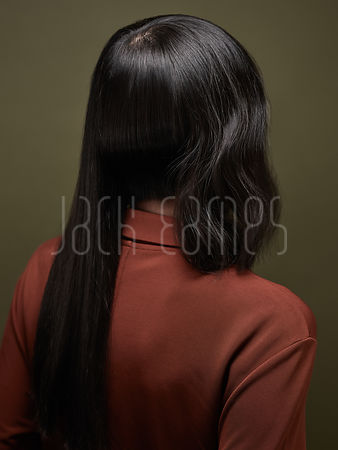 An Abstract Hair Style of Long, Beautiful, Shiny Black Hair