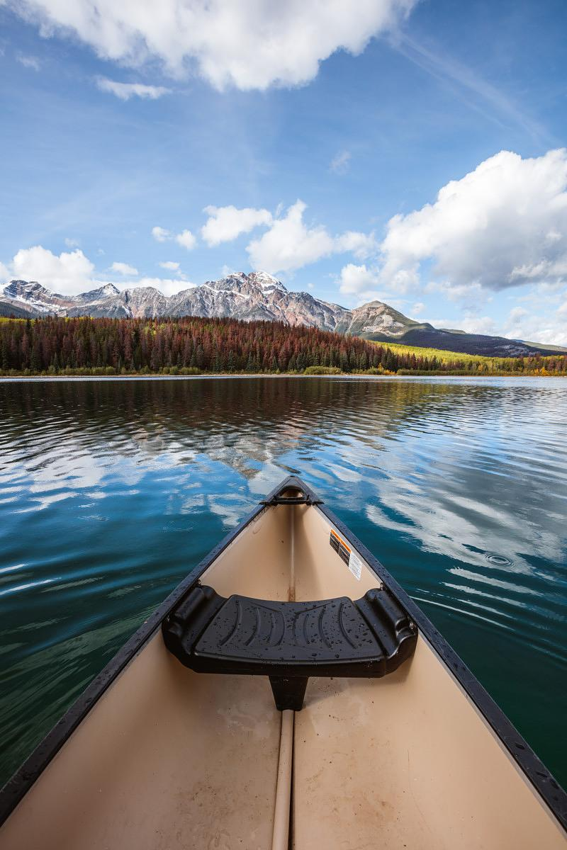 Canoe on Patricia lake, Jasper National Park, Canada