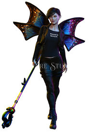 Urban Fae with Butterfly Wings in Black Leather